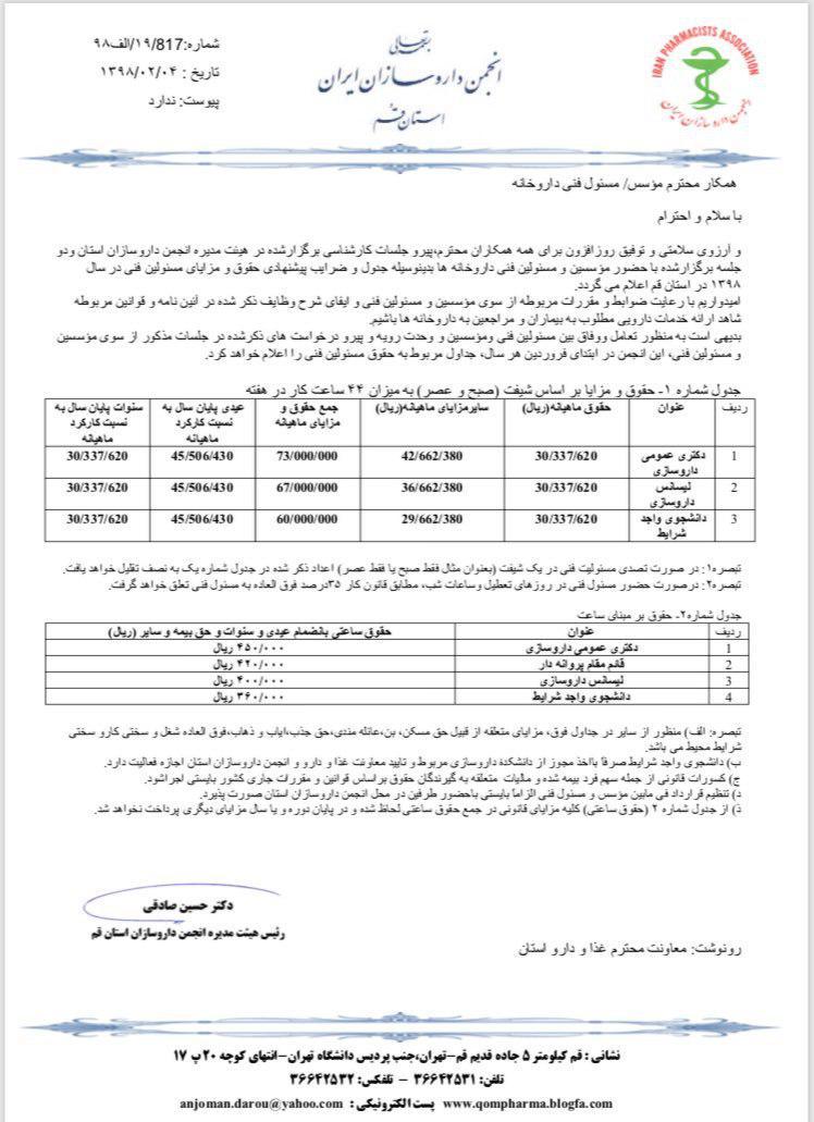 اطلاعیه انجمن داروسازان استان قم در خصوص # حقوق مسئولین فنی جهت سال ۱۳۹۸