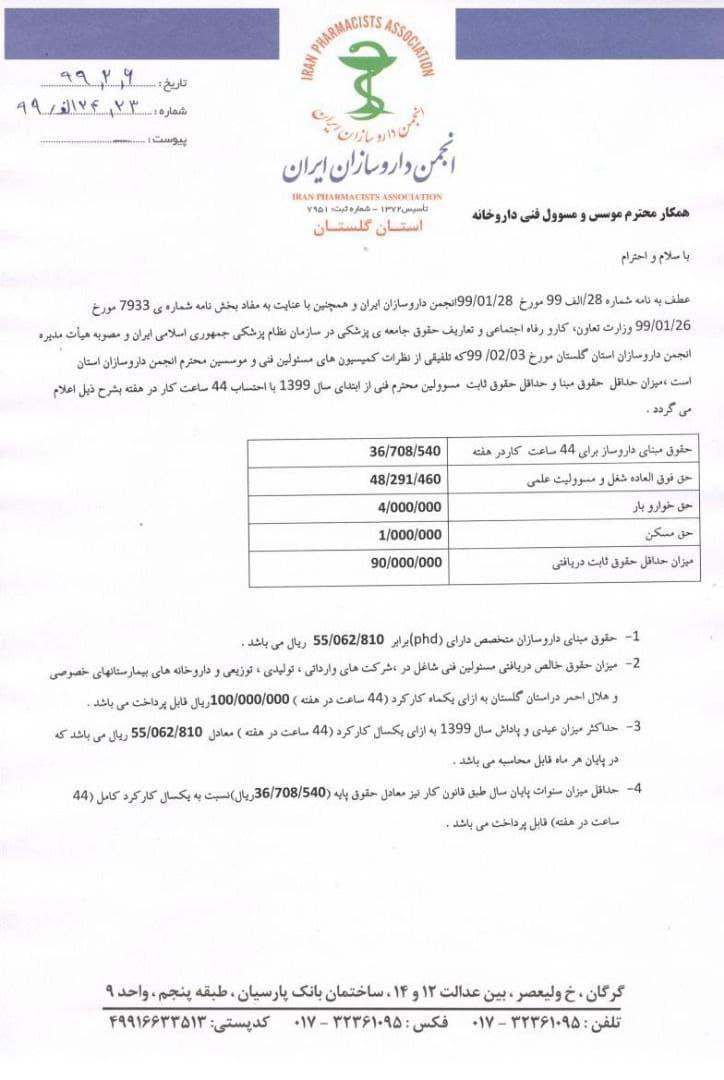 میزان حداقل حقوق مبنا و حداقل حقوق ثابت مسئولین محترم فنی در سال 1399 با احتساب 44 ساعت کار در هفته به شرح زیر میباشد