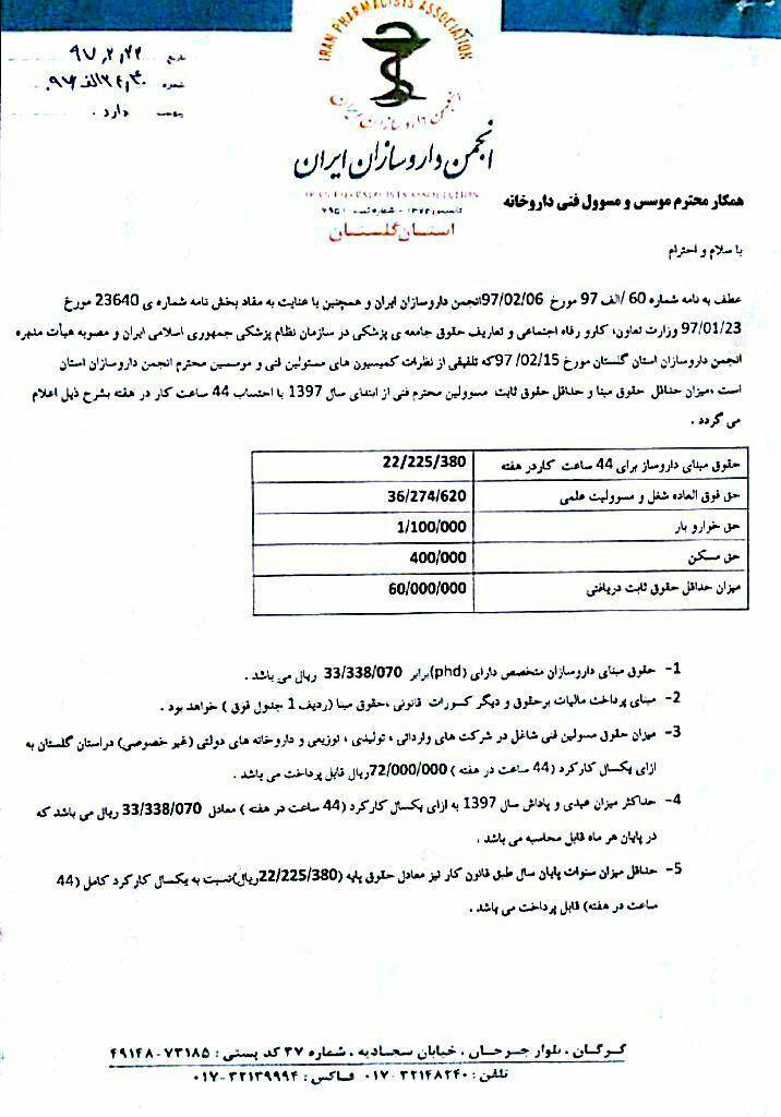 بخشنامه حداقل_حقوق دریافتی مسئولین فنی استان گلستان در سال ۹۷